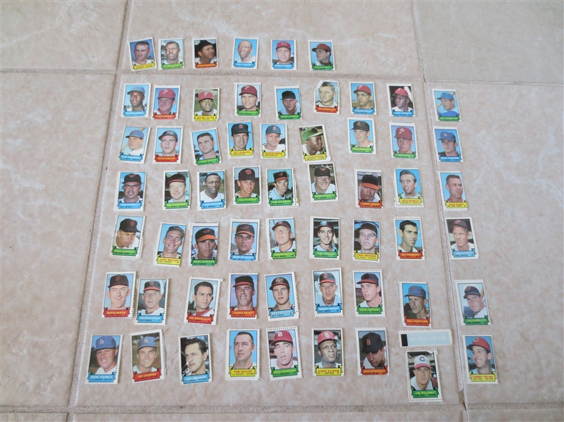(60) 1969 Topps Baseball Stamps---no Hall of Famers but numerous stars