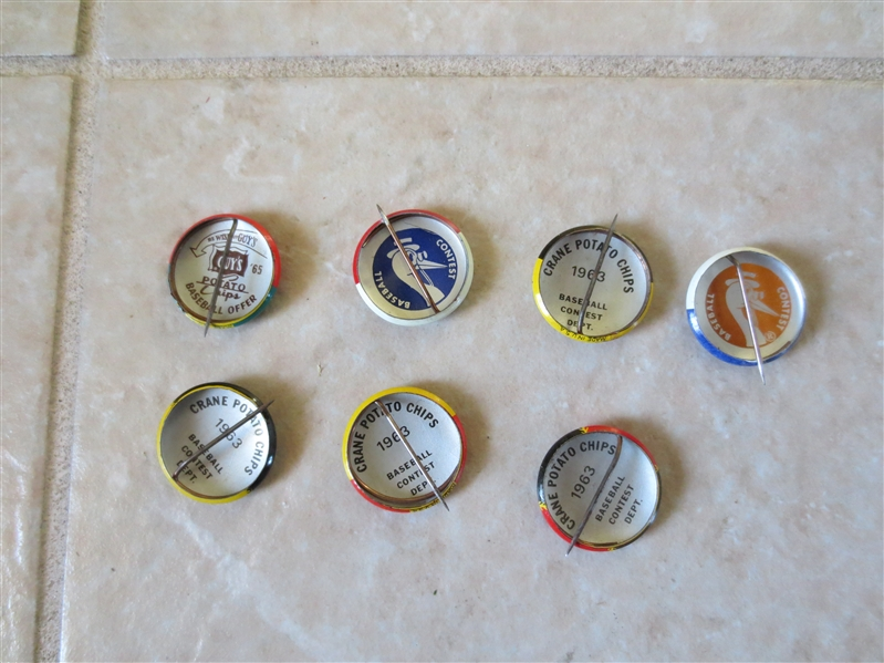 (7) different 1963 Crane Potato Chip baseball team pins  3/4