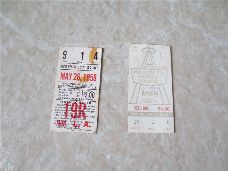 1958 Dodgers at Phillies ticket stub + 1974 A's at Angels ticket stub