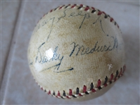 Autographed Joe Medwick, Dizzy Dean, Paul Dean Official Spalding National League baseball