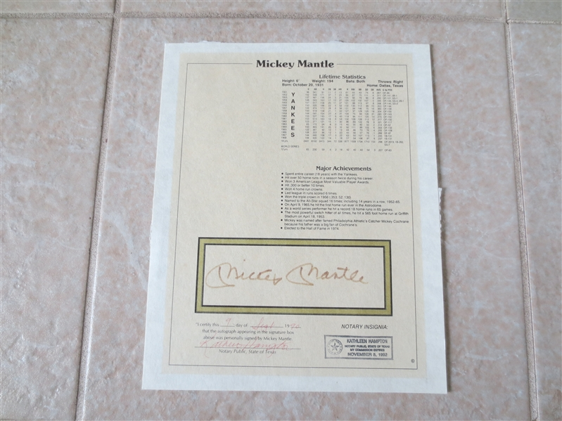Autographed Mickey Mantle Achievement Page with Notary