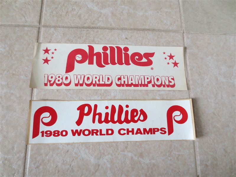 (2) differrent 1980 Philadelphia Phillies World Series Champions bumper stickers