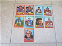 (9) 1971 Topps Football Greats cards:  Bradshaw rookie, (2) Unitas, Tarkenton, Greene, (2) Lanier, Sayers, Schottenheimer