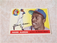 1955 Topps Hank Aaron + 1955 Topps Al Kaline baseball cards both with nice color