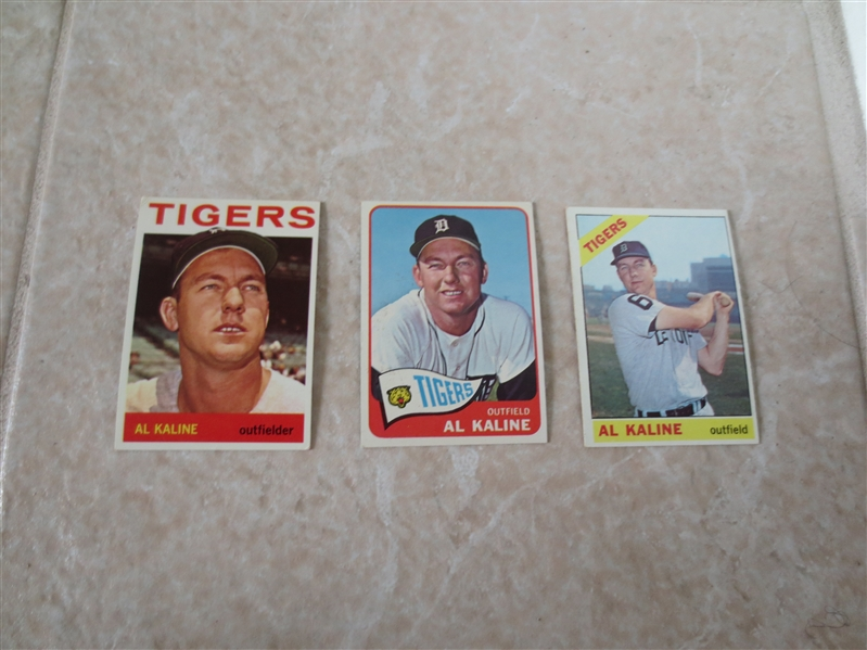 1964, 1965, and 1966 Topps Al Kaline baseball cards in very nice shape