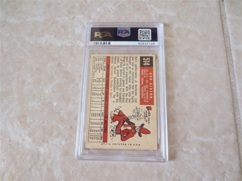 1959 Topps Bob Gibson rookie #514 PSA 3.5 vg+ baseball card (has minor crease)