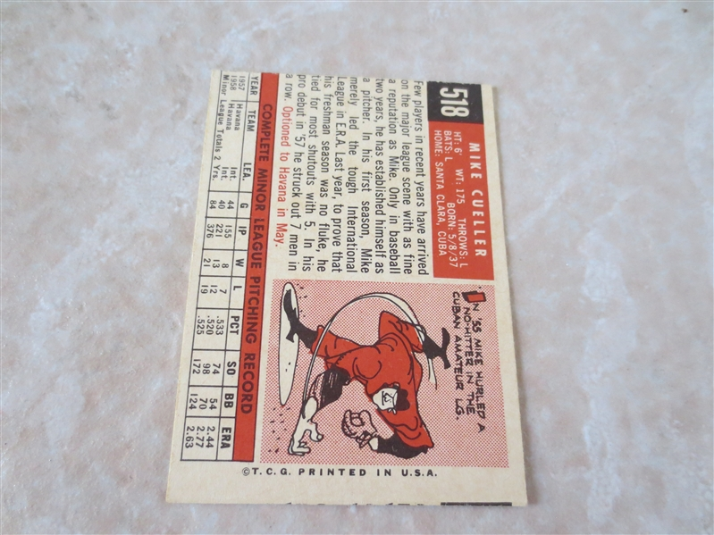 1959 Topps Mike Cuellar rookie baseball card #518 in nice condition