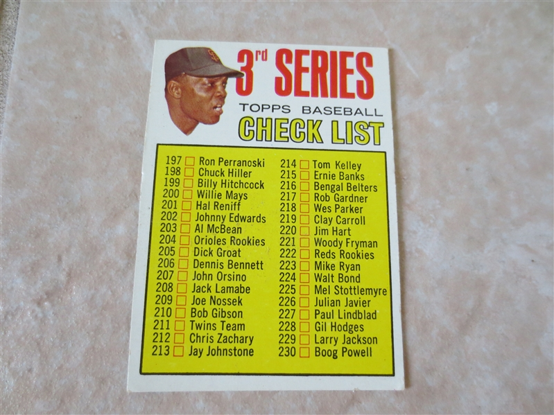 1967 Topps Willie Mays 3rd Series Unmarked Checklist baseball card #191 in very nice shape