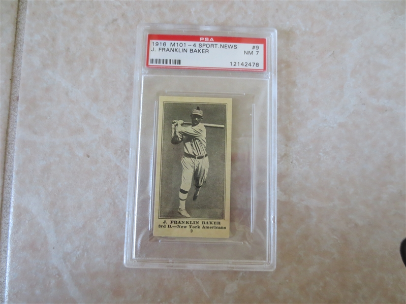 1916 M101-4 Sporting News Home Run Baker PSA 7 nmt no qualifiers baseball card #9