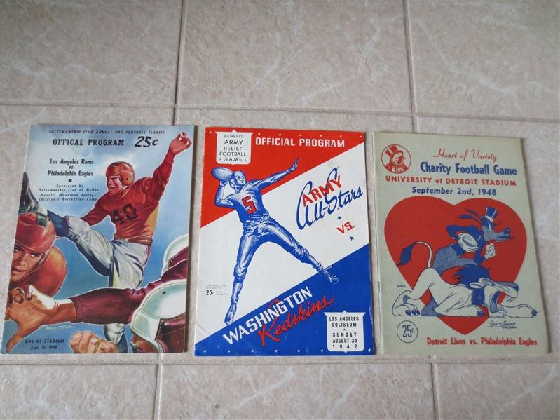 (3) Very rare Preseason football programs from 1942 and 1948