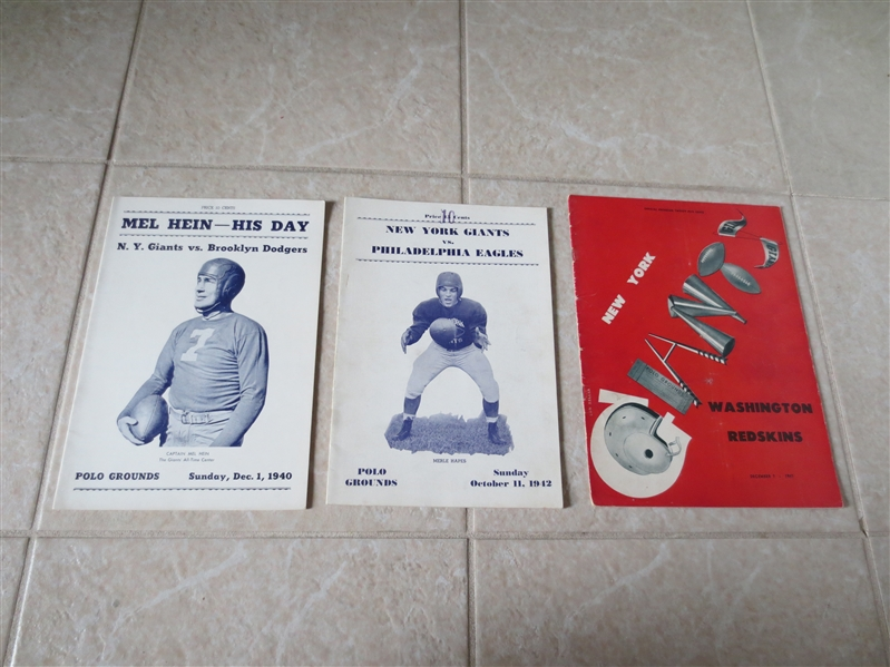 (3) New York Giants home football programs from 1940, 42, 47