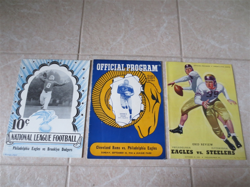 (3) Philadelphia Eagles football programs from 1940 and 1942 all low attendance games!!