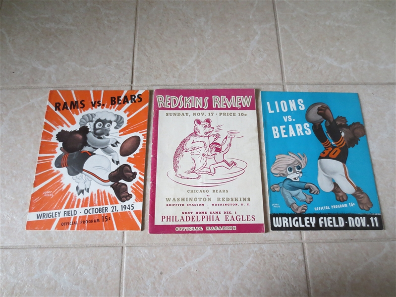 (3) Chicago Bears football programs from 1940 and 1945