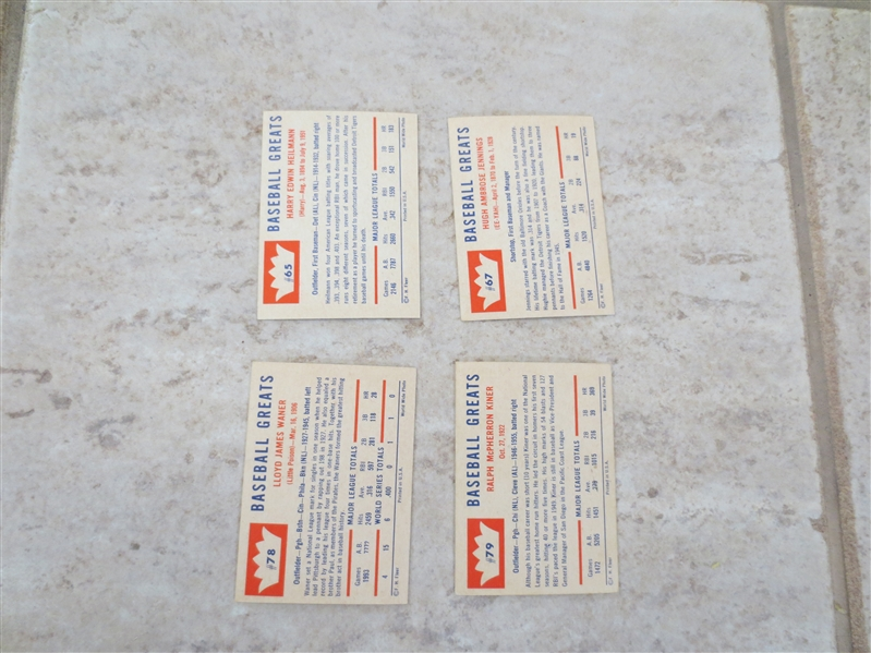 (4) 1960 Fleer Greats Hall of Famer baseball cards in great shape!