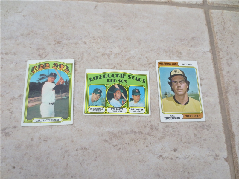 1972 Topps Carlton Fisk/Cecil Cooper rookie card + 72 Topps Yaz + 1974 Topps Wash. Nat'l Lea. in affordable condition