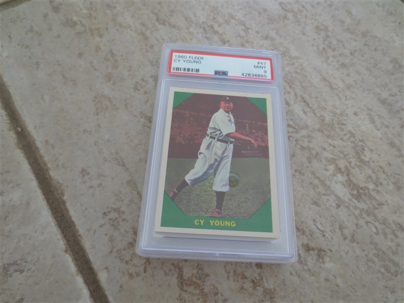 1960 Fleer Cy Young PSA 9 MINT baseball card #47 with no qualifiers  SMR is $185