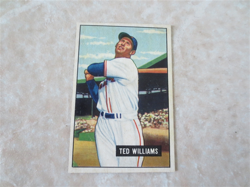 1951 Bowman Ted Williams baseball card #165 in affordable condition!  Looks nice!
