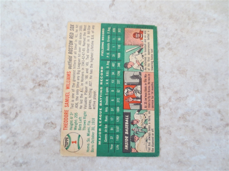 1954 Topps Ted Williams baseball card #1 in nice condition!