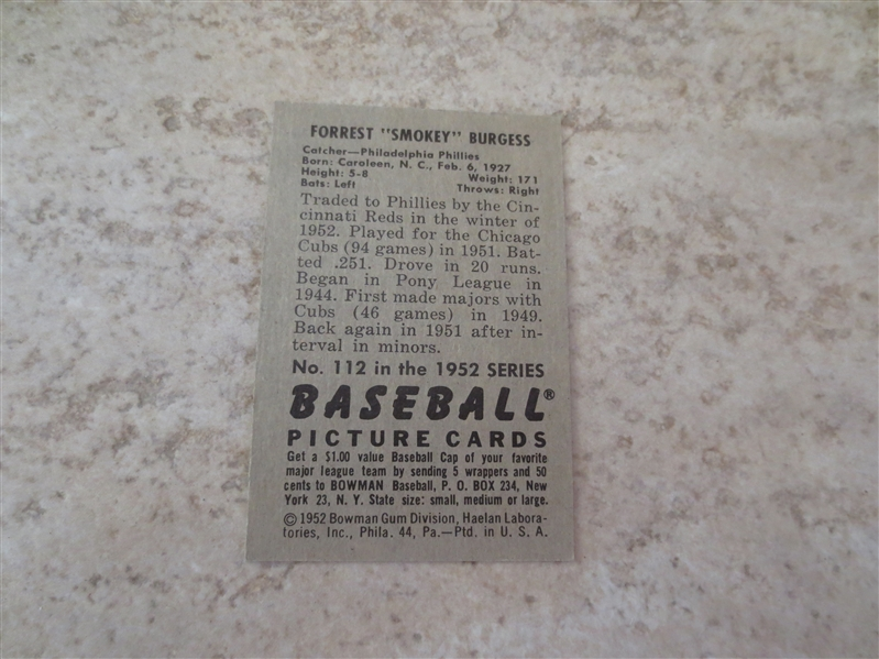 1952 Bowman Smokey Burgess baseball card #112 with sharp color
