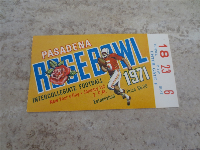 1971 Rose Bowl football ticket stub in very nice condition  Stanford vs. Ohio State