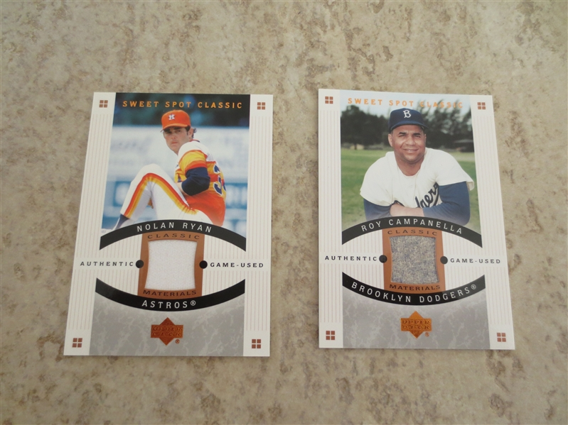 (2) 2005 Upper Deck Sweet Spot Classic Authentic Game Used Nolan Ryan, Roy Campanella