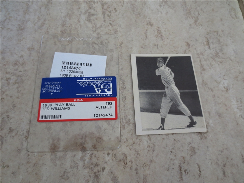 1939 Play Ball Ted Williams PSA Authentic BUT altered baseball card #92  Affordable.