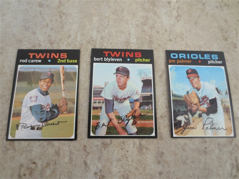 1971 Topps Bert Blyleven rookie card #26 plus 1971 Topps Rod Carew and Jim Palmer baseball cards
