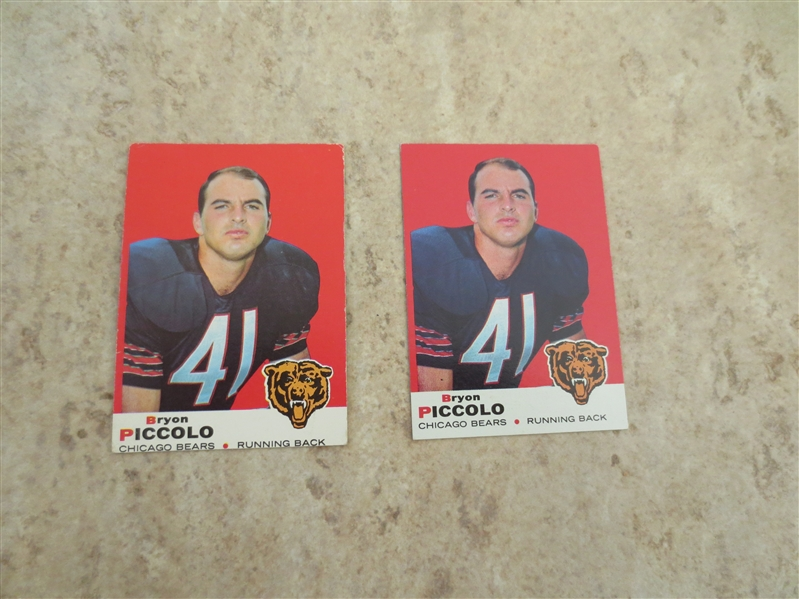 (2) 1969 Topps Bryon PIccolo rookie football cards in nmt and ex