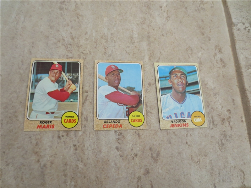 (3) 1968 Topps Hall of Famer baseball cards in very nice condition:  Maris, Jenkins, and Cepeda