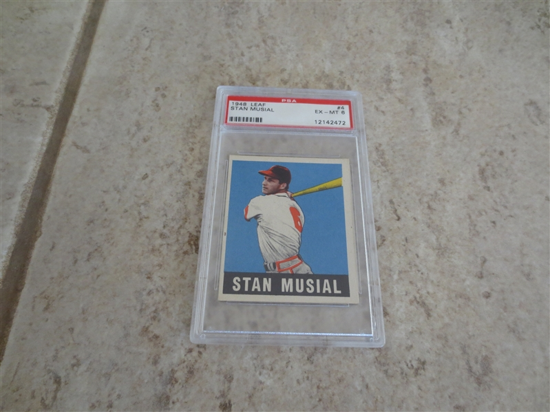 1948 Leaf Stan Musial rookie PSA 6 ex-mt baseball card #4 with no qualifiers  SMR is $1650.