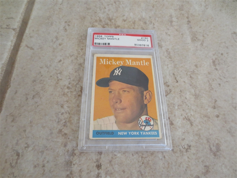1958 Topps Mickey Mantle PSA 2 good baseball card #150  Affordable!