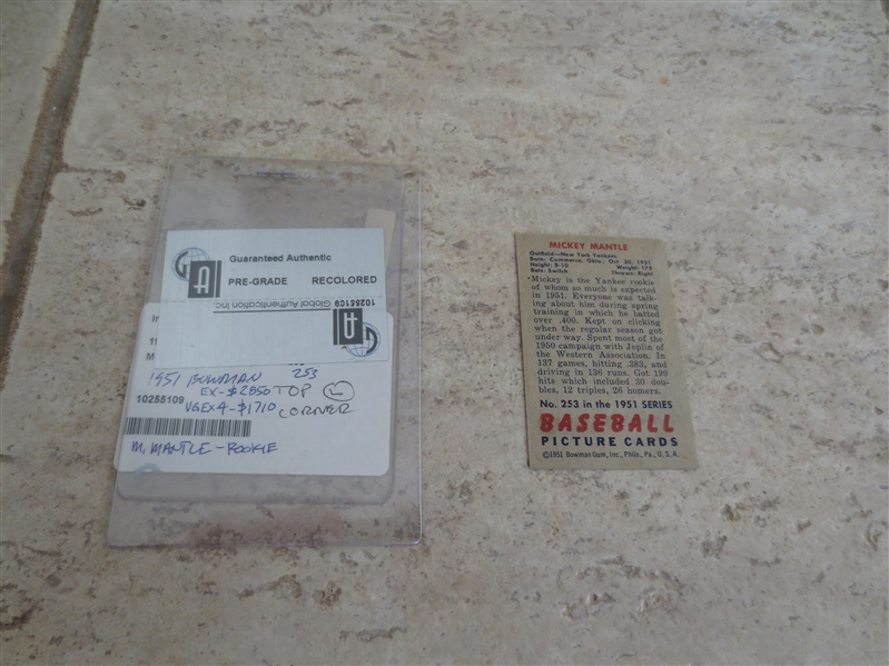 1951 Bowman Mickey Mantle rookie GAI Authentic BUT recolored baseball card #253  Affordable.