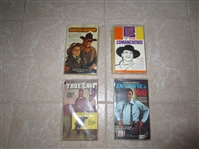 (4) vintage John Wayne movie paperback books: True Grit, McQ, Rooster Cogburn, The Comancheros