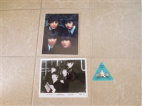 The Beatles Package:  2 photos plus Ringo Starr All Star Band 1989 Tour Badge
