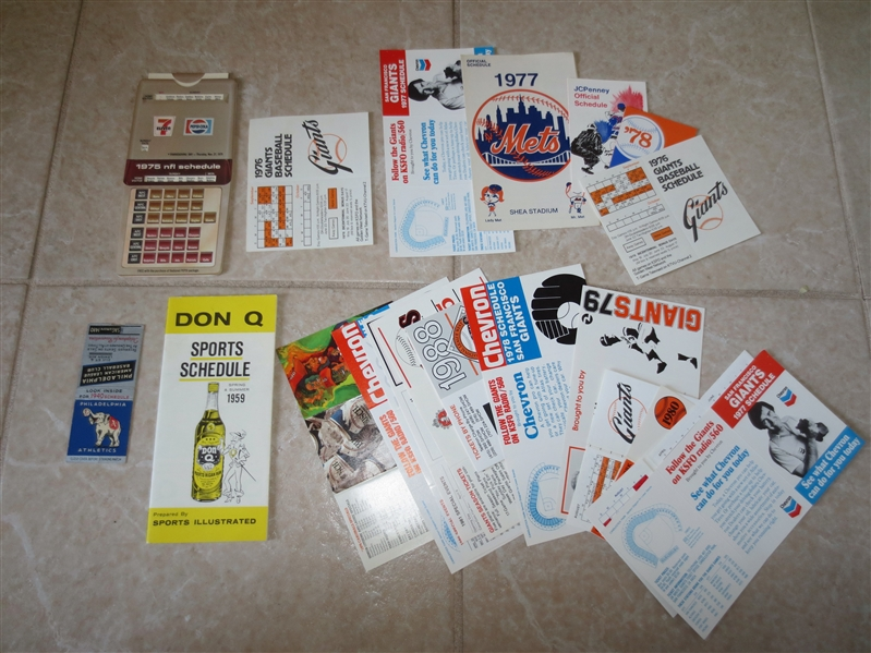 (24) 1940 Philadelphia Athletics + Mets, Giants, Angels, Dodgers, Cardinals pocket schedules