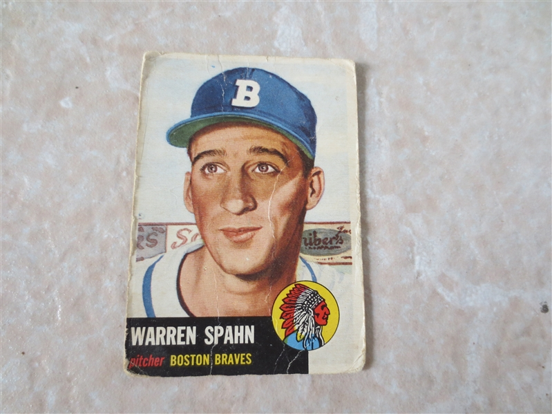 1953 Topps Warren Spahn baseball card #147 in affordable condition