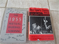 1955 Mutual Baseball Almanac + Best Sports Stories 1962 hardcover books
