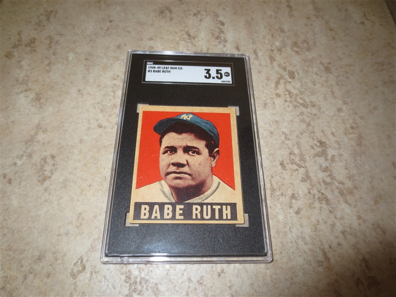 1948-49 Leaf Babe Ruth SGC 3.5 vg+ baseball card #3  Affordable!