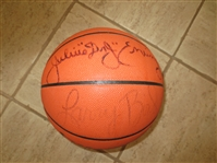 Autographed Magic Johnson, Larry Bird, and Dr. J Julius Erving basketball