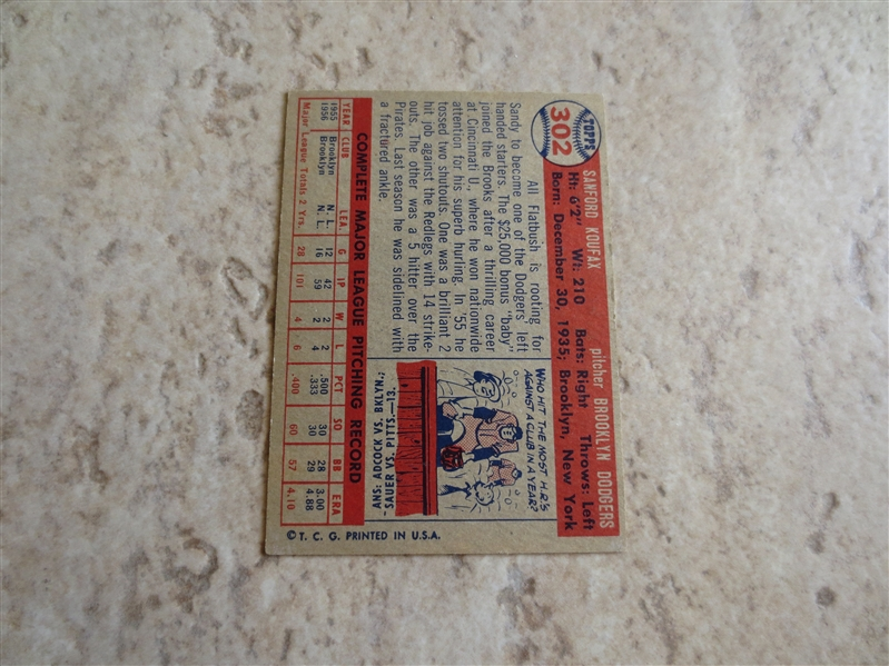 1957 Topps Sandy Koufax baseball card #302 in very nice condition