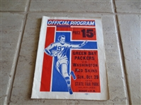 October 29, 1939 Washington Redskins at Green Bay Packers football program