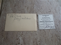 "Autographed Sidney Tanenbaum 3"" x 5"" New York Knicks and Baltimore Bullets"
