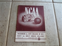 March 20, 1947 NCAA East Regional Basketball Championship program Holy Cross, Navy, Wisconsin, CCNY   Bob Cousy