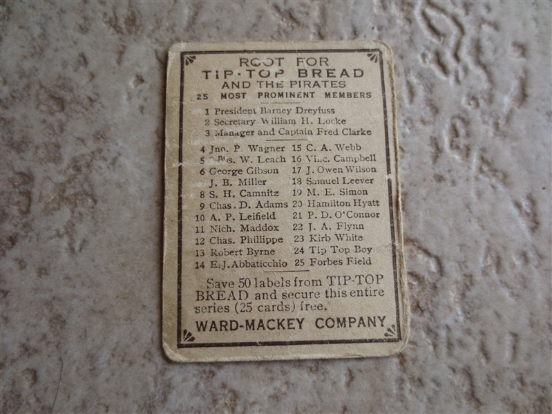 1910 Tip Top Bread D322 Paddy O'Connor Pittsburgh Pirate baseball card  RARE