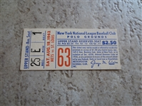 1962 St. Louis Cardinals at New York Mets ticket stub  1st year Mets.  Bob Gibson shutout!