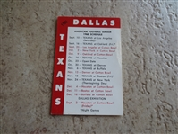1960 Dallas Texans AFL Pocket Football Schedule  1st Year AFL