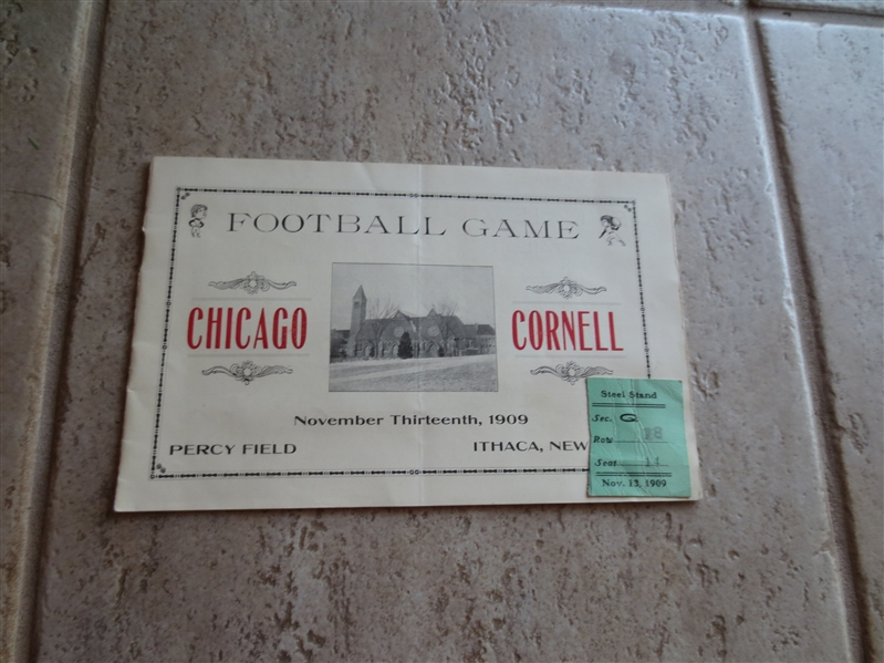 1909 Chicago at Cornell football program and stub   VERY RARE!