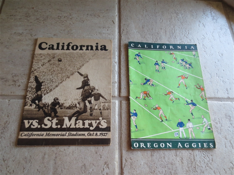 (2) 1920's CAL home football programs vs. Oregon State; St. Mary's