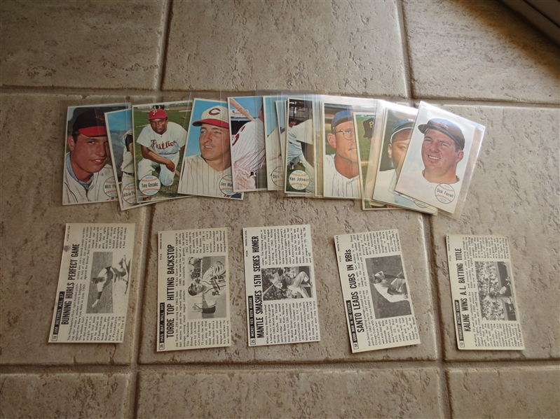(24) 1964 Topps Giants baseball cards including Mickey Mantle, Torre, Kaline, Bunning, Santo