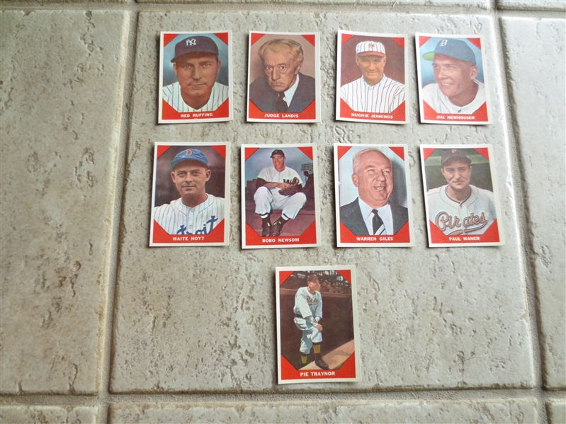 (9) 1960 Fleer Greats in super condition:  Ruffing, Landis, Newhouser, Jennings, Hoyt, Newsom, Giles, Waner, Traynor